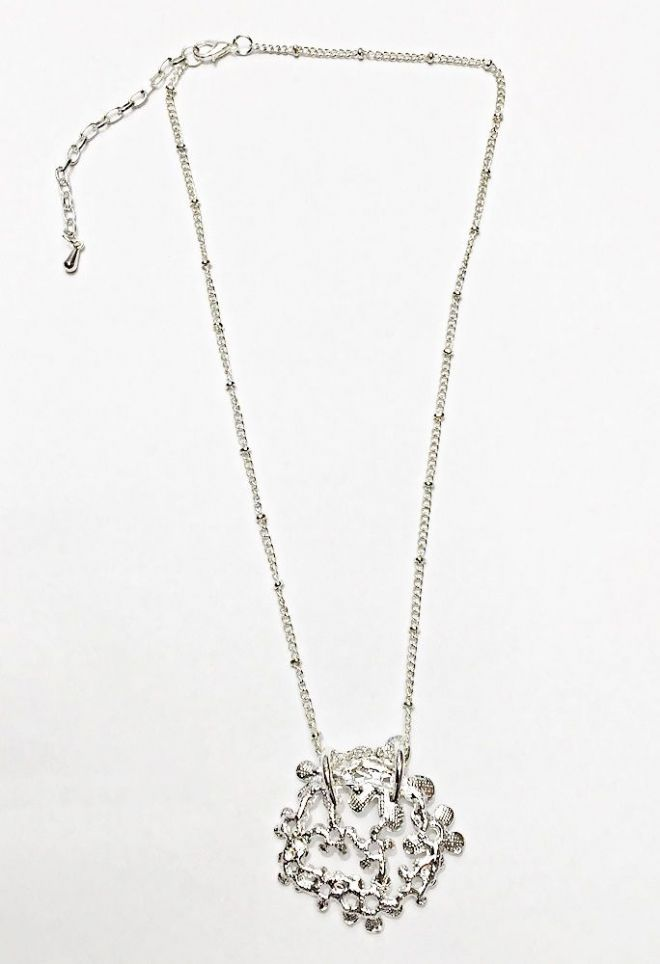Floral Short Necklace ~ Silver